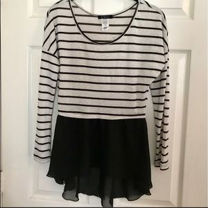 Black and ivory baby doll shirt